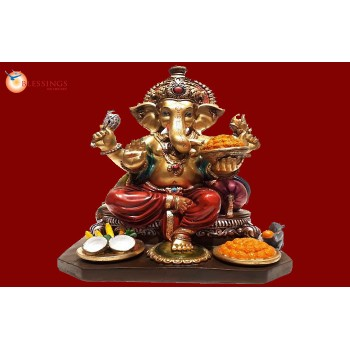 Ganesha Gold With Colour 30561