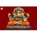 Ganesha Gold With Colour 30562