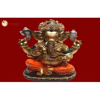Ganesha Gold With Colour 30563