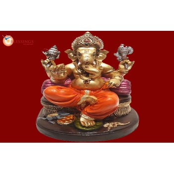 Ganesha Gold With Colour 30566