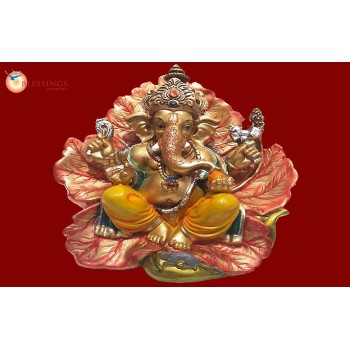 Ganesha Gold With Colour 30568