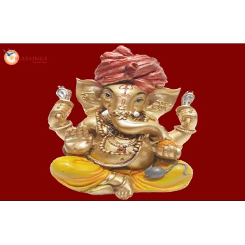 Ganesha Gold With Colour 30570