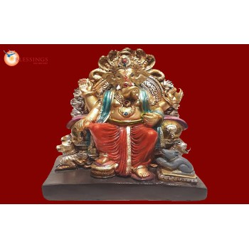 Ganesha Gold With Colour 30572