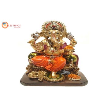 Ganesha Gold With Colour 30577