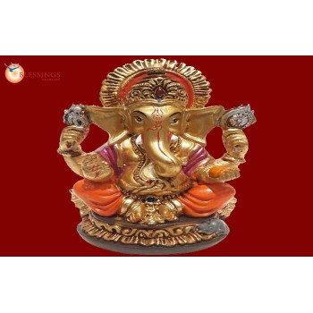 Ganesha Gold With Colour 30583