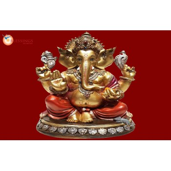 Ganesha Gold With Colour 30584