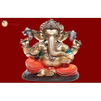 Ganesha Gold With Colour 30586