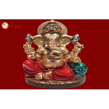Ganesha Gold With Colour 30587