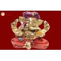 Ganesha Gold With Colour 30588