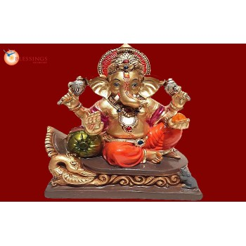 Ganesha Gold With Colour 30589