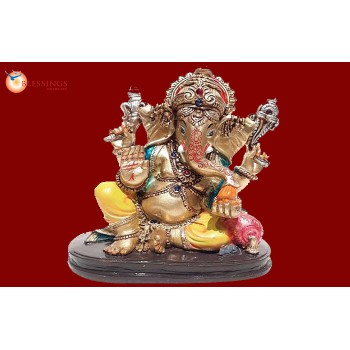 Ganesha Gold With Colour 30591