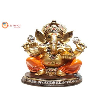 Ganesha Gold With Colour 30592