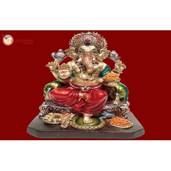 Ganesha Gold With Colour 30593