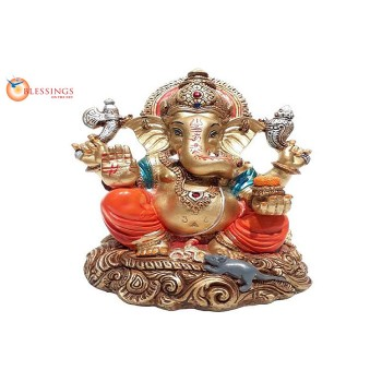 Ganesha Gold With Colour 30594