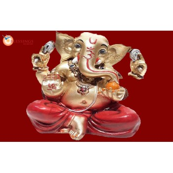 Ganesha Gold With Colour 30596